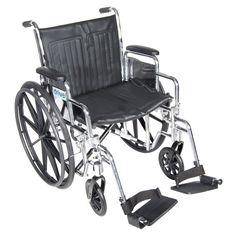 "Drive Medical Chrome Sport Black Wheelchair 20"" Seat"