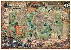 Thema 8: De verborgen Schat - Stanley & Livingstone reisgidsen en landkaarten reisboekhandel globewinkel wereldkaartenwinkel : Piraten wereldkaart [Schatkaart voor Jack S...