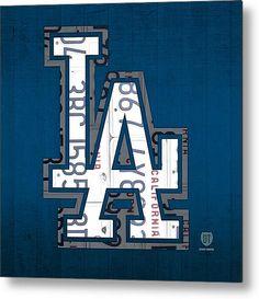 Los Angeles Dodgers Baseball Vintage Logo License Plate Art Metal Print By Design Turnpike