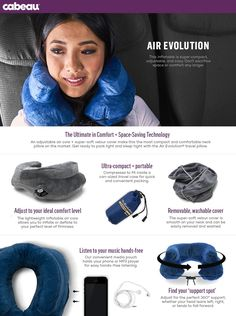 Cabeau Air Evolution Inflatable Travel Neck Pillow - The Best Travel Pillow Built for Maximum Comfort and Portability, Grey