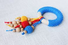 READ ON SHIP Crochet wooden Teething ring by NecklacesForMommy, $15.00