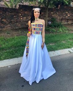 The breathtakingly gorgeous in ndebele inspired gown. Wishing you well on your union my hun 😘 South African Traditional Dresses, African Traditional Wedding Dress, Traditional Outfits, Modern Traditional, Traditional Weddings, African Wedding Attire, African Attire, African Dress, African Weddings