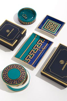 The Jonathan Adler Mykonos Trays and Boxes are as crisp and refreshing as a plunge into the Aegean Sea. As a holiday gift, it will transport the recipient to a grecian paradise.
