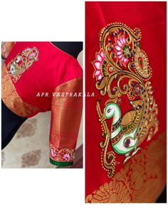 Paint and aari work Modern Blouse Designs, Traditional Blouse Designs, Netted Blouse Designs, Pattu Saree Blouse Designs, Best Blouse Designs, Blouse Neck Designs, Traditional Outfits, Air Jordan 3, Western Outfits