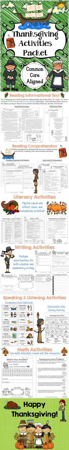 This Thanksgiving Activities Packet includes reading comprehension, literacy, writing, speaking & listening, and math activities.  Common core aligned!  Cover the core, social studies, and have fun! $