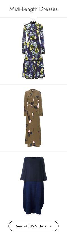 """Midi-Length Dresses"" by andrew-tillman ❤ liked on Polyvore featuring dresses, erdem, navy blue dress, silk dress, midi day dresses, structured midi dress, mid calf dresses, green, green silk dress and brown silk dress"