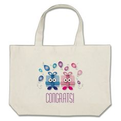 Cute Cartoon Gift Boxes Baby Shower Birthday Large Tote Bag
