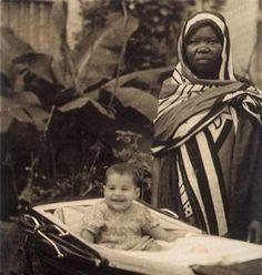 Freddie Mercury with his nanny, Zanzibar 1947