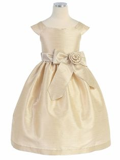 Champagne Aurora Sash Dupioni Dress flower girl.  Greta picked this one.