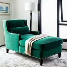 Darby Home Co Winford Chaise Lounge Upholstery Colour: Velvet Hunter Green Fainting Couch, Velvet Chaise Lounge, Chaise Lounge Bedroom, Chaise Chair, Comfy Chair, Velvet Sofa, Accent Chairs For Sale, Room Chairs, Office Chairs