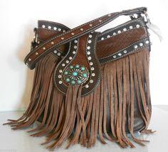 New Montana West® Rhinestone Hobo w/ Turquoise Accent & Leather Fringe- Coffee