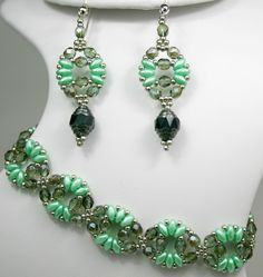 Deb Roberti's Circe Bracelet and Earring Pattern done in pastel green to capture the essence of Spring 2014 color Hemlock