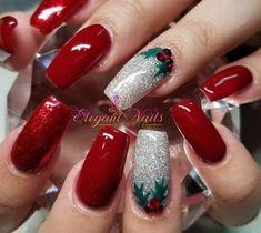 Xmas Nail Art, Cute Christmas Nails, Xmas Nails, Holiday Nails, Red Nails, Christmas Night, Christmas Tree, Cute Nails, Pretty Nails