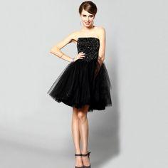 Fashion Strapless Slim Fit Short Chiffon Evening Dress