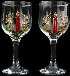 Pair of Wine Glasses in Celtic Christmas Design