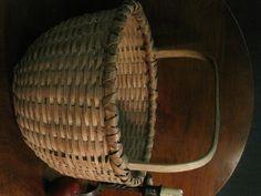 Antique 1800s New England Black Ash Woven Splint Paint Decorated Basket For Sale North Bayshore Antiques