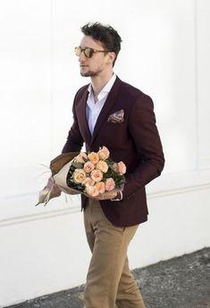 Men's Burgundy Blazer, White Long Sleeve Shirt, Khaki Chinos, Burgundy Paisley Pocket Square