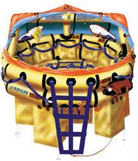 This deluxe model Ocean Rescue raft from the Winslow Life Raft Company comes with everything you need to survive a sea ordeal.  The ocean is tough on a smaller vessels, & you could end up w/ water flooding your safe haven. All modern rafts come with pumps &  repair kits for this reason. You'll also make good use of your bailer to help empty your raft of water.
