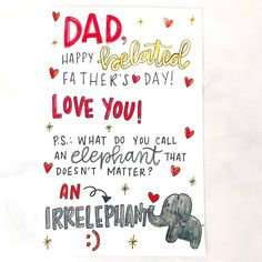 "Dad is one person we maybe don't say ""I love you"" to often enough, but that doesn't mean we don't love him. He's actually pretty great, and we're here to help you let him know with some Father's Day quotes to use in your cards.    #fathersday #father #happyfathersday #fathersdaygifts #fathersdaycards ##fathersdayideas #fathersdayquotes ##fathersdaygift ##fathersdaycard #handwrittencard #cardart #mailart #handwriting #doodles Fathersday Quotes, Days To Christmas, Send A Card, Fathers Day Cards, Say I Love You, Writing Tips, Be Yourself Quotes, Handwriting, Your Cards"