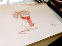吱吱-青时_水彩,手绘,小老鼠_涂鸦王国插画