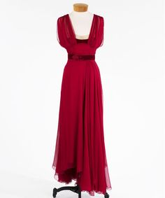 Red chiffon evening dress with velvet belt, late 1930's - early 1940's