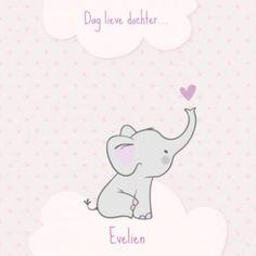 Zacht rouwkaartje olifant op wolk meisje