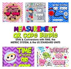 This pack is aligned with common core standards and and contains five QR code task card titles on measurement units and conversio. Teaching Time, Teaching Math, Maths, Teaching Ideas, Math Games, Math Activities, Math Classroom, Classroom Ideas, Classroom Tools