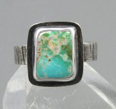 Boulder Turquoise Ring  sterling silver Pilot by AmityJewelry