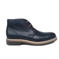 Zapato botín liso en color azul de Paco Milán vista lateral