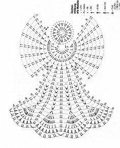 Free Crochet Diagram Pattern - not English Crochet Angel Pattern, Crochet Angels, Crochet Motifs, Crochet Diagram, Thread Crochet, Crochet Doilies, Free Crochet, Knit Crochet, Crochet Patterns