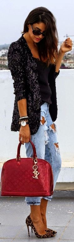 Street styles Louis Vuitton bag , Love blazer and ripped denim