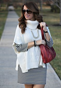 Poncho sweater striped dress