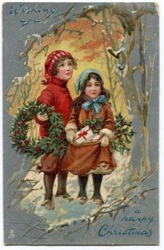 011413S Antique Tuck Christmas Postcard Children in Snow 1908