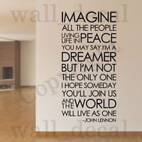 Imagine John Lennon The Beatles Removable Wall Decal Vinyl Sticker Decor Quote