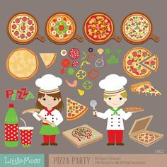 Pizza Party Digital Clipart Italian Chef Clipart by LittleMoss
