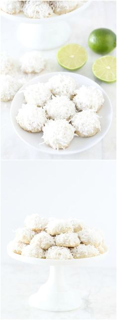 Lime Coconut Snowball Cookie Recipe on http://twopeasandtheirpod.com Everyone loves these pretty little snowball cookies! They are perfect for the holiday season or any season!