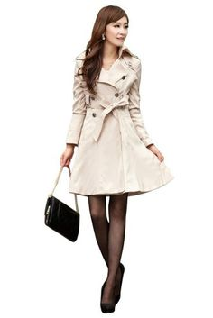 Promithi Womens Wild Slim Fitted Long Trench Coat Candy Color Jacket Windbreaker (Asian size X-Large..