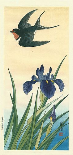 Jo. A Swallow Flies Over an Iris 1930