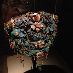 Headdress Qing dynasty made with Large pink Tourmaline, Rubies, Jadeite, Corals, Pearls, & Kingfisher Feathers