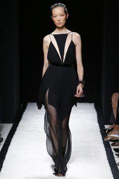 Balmain spring 2015 sheer black dress