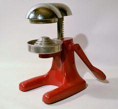 1950's Vintage Juice King Red Enamel Juicer Extractor Chrome