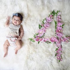 Month 4 - chambray bow, boho bib, floral bloomers, peony number Baby Milestone Flower Flatlay Tutorial DIY for all 12 Months with matching outfit ideas on Baby Girl Pictures, Newborn Pictures, 4 Month Old Baby, Chambray, Milestone Pictures, Monthly Baby Photos, Vie Motivation, Newborn Bows, Baby Girl Photography