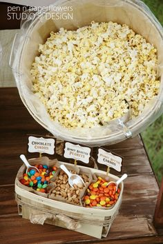 Popcorn Bar! Love this for a movie night, slumber party, girl's night, or outdoor movie night! @Gianna Borkhuis Borkhuis Borkhuis Cordasco