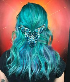 I sure hope your day is as sunny as ours has been ☀️❤️ . Mermaid Float, Color Melting, Mermaid Hair, Rainbow Hair, Hair Goals, Hair Inspiration, Hair Makeup, Bling, Stylists