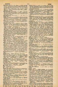 JOURNEY Free Vintage Dictionary Page Printable from Time.net