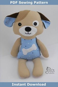 Softie Pattern, Dog Pattern, Animal Sewing Patterns, Stuffed Animal Patterns, Toy Puppies, Sewing Toys, Easy Sewing Projects, Sewing Basics, Softies