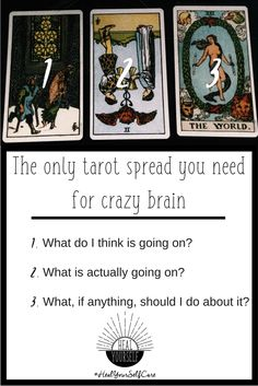 How to use tarot for self care with this simple spread. When anxiety and depress. - - How to use tarot for self care with this simple spread. When anxiety and depression won't lift, this is the only spread you need to snap out of the funk. Tarot Card Spreads, Tarot Cards, 3 Card Tarot Spread, Wiccan, Witchcraft, Tarot Astrology, Tarot Learning, Tarot Card Meanings, Modern Witch