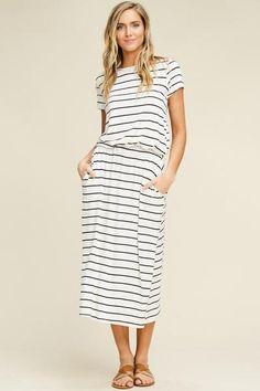 Stripe Short Sleeve Midi Dress – Aynara Fashion Midi Shirt Dress 7e93b4f55
