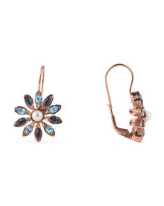 Made In Italy Rose Gold Plated Sterling Silver Blue Pearl Flower Earrings