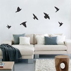 17 Ideas bird wallpaper bedroom home decor for 2019 Wall Stickers Birds, Bird Wall Decals, Animal Wall Decals, Wall Decals For Bedroom, Wallpaper Bedroom Home, Home Bedroom, Flying Bird Silhouette, Walpaper Black, Wall Colors